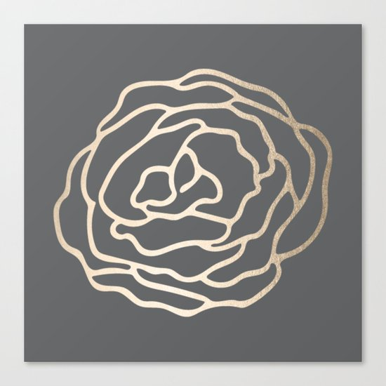 Rose White Gold Sands on Storm Gray Canvas Print