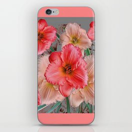 CORAL COLORED  PINK & CREAM DAYLILIES iPhone Skin