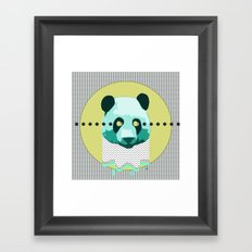 the blue panda who was melting black and white Framed Art Print