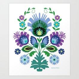 Polish Folk Flowers Light Blue Art Print