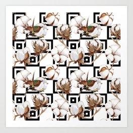 Cotton Flower Pattern 06 Art Print