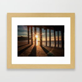 Through the Blinds sun bursts through Avila Pier Avila Beach California Framed Art Print
