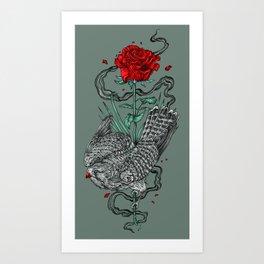 Hawk Rose Art Print