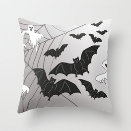 Ghosts and Bats Spiderweb Halloween Throw Pillow