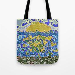 Sea sunset realistic mozaic print Tote Bag