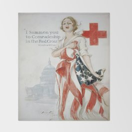 Vintage poster - American Red Cross Throw Blanket