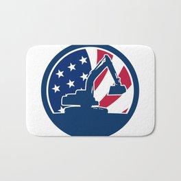 American Excavator USA Flag Icon Bath Mat