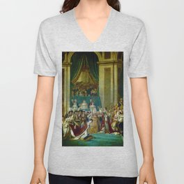 """Jacques-Louis David """"The Coronation of the Napoleon and Joséphine in Notre-Dame Cathedral"""" Unisex V-Neck"""
