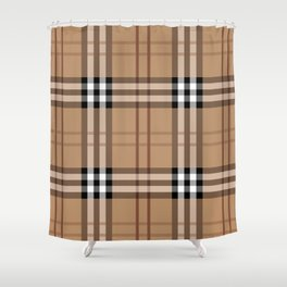 Classic Vintage Brown Check  Tartan Shower Curtain