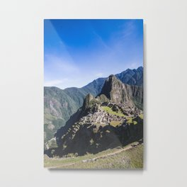 Machu Picchu | Landscape Photography of Historical Inca City Surrounded by Mountains Metal Print