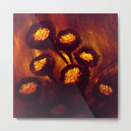 Brown Orange Flowers Luminous,Abstract Metal Print