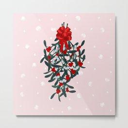 Elegant Mistletoe Holiday Design Metal Print