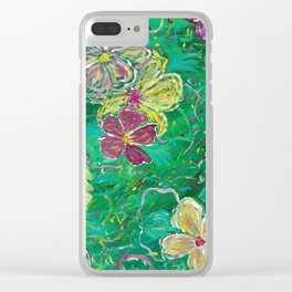 Green Abstract Painting Clear iPhone Case