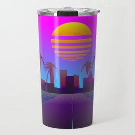 80s Retro Sci-Fi Background Travel Mug