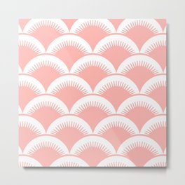 Japanese Fan Pattern Peach Metal Print