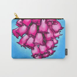 Pretty in Pink Bell Flowers Carry-All Pouch
