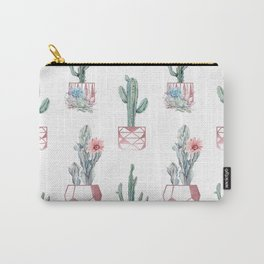 Rose Gold Potted Cactus with Succulents Carry-All Pouch