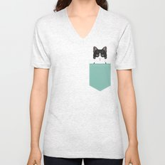Quinn - Cute black and white cat tuxedo cat gifts for cat lady gift ideas cell phone case with cat Unisex V-Neck
