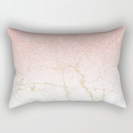 Rose Gold Glitter and gold white Marble Rectangular Pillow