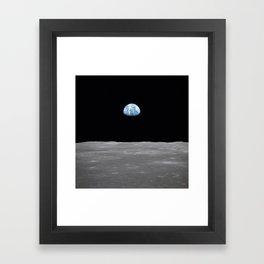 Earth rise over the Moon Framed Art Print