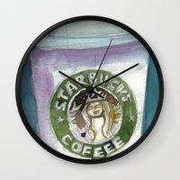 starbucks Wall Clocks featuring Starbucks by Dorrie Rifkin Watercolors