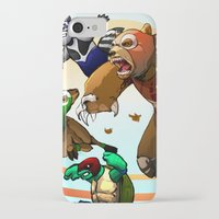 wrestling iPhone & iPod Cases featuring Wildlife Wrestling Federation by Stephen Yan