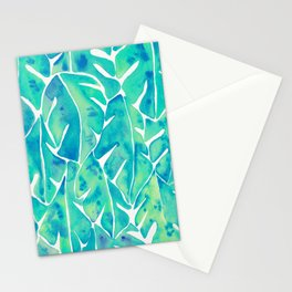 Split Leaf Philodendron – Turquoise Stationery Cards