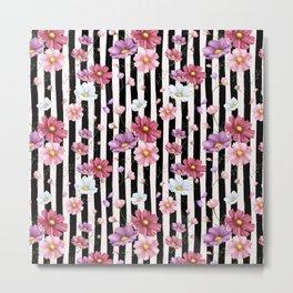 Pastel Flowers on Black Stripes Metal Print