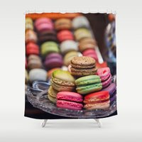 macarons Shower Curtains featuring Macarons, Paris by Julia Dávila-Lampe
