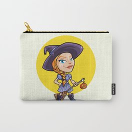 Cute witch with broom halloween cartoon Carry-All Pouch