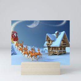 Holiday Christmas Santa Reindeer Sleigh Mini Art Print