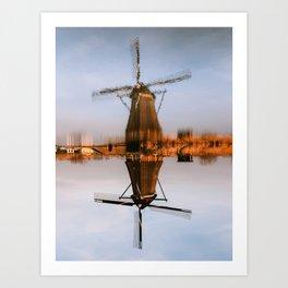 Dutch Windmill Canal Reflection | Sunset Photography | Kinderdijk, Netherlands Art Print