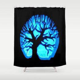 Happy HaLLoWeen Brain Tree Blue Shower Curtain