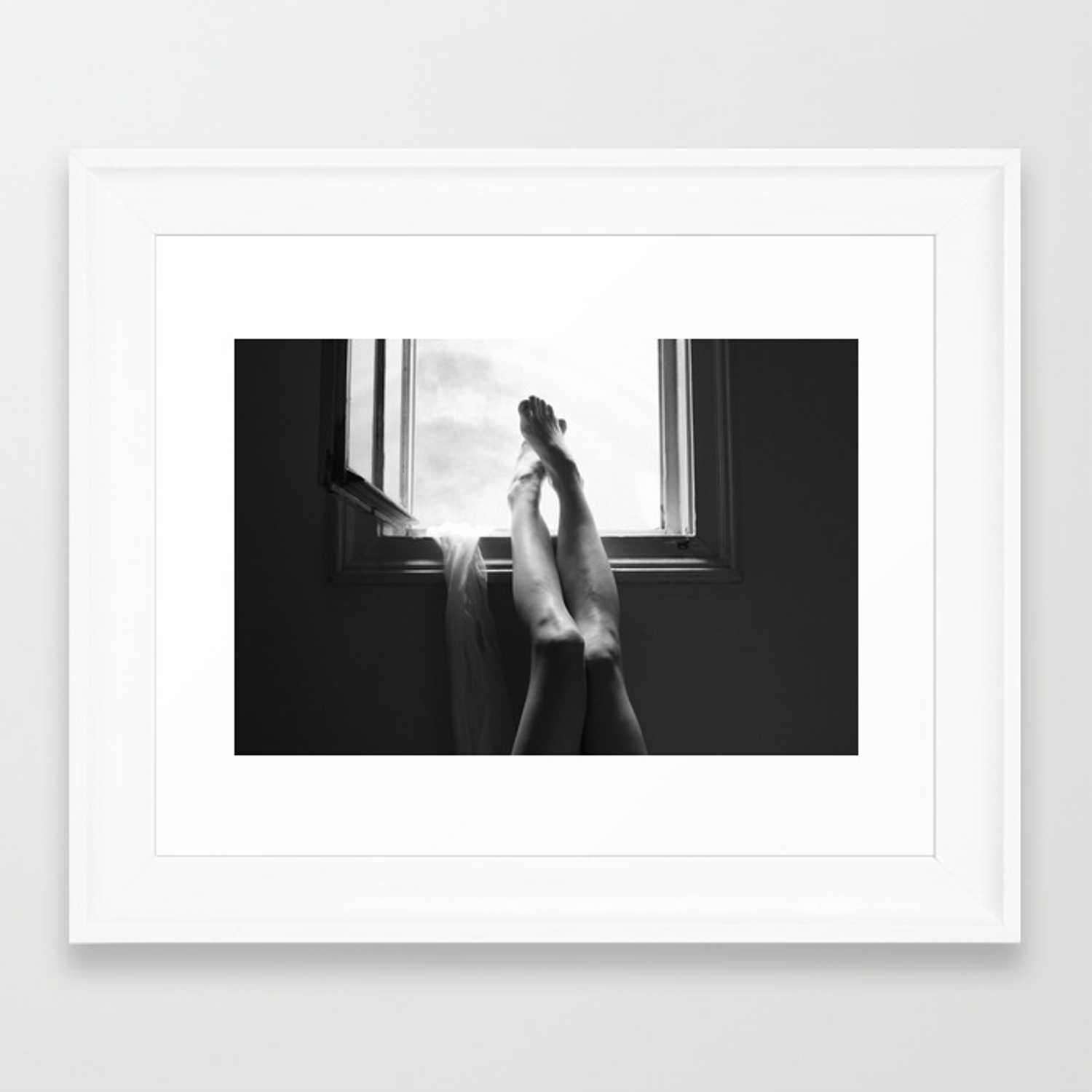 Digital photo photography legs window figure woman black and white framed art print