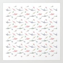 Colorful Plane Sketches Art Print