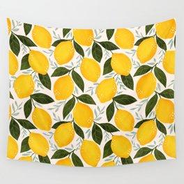 Mediterranean Summer Lemons Pattern Wall Tapestry