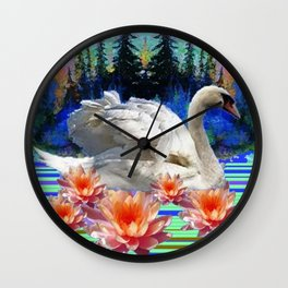 Swan Island &, Peach-Pink Water Lillies Wall Clock
