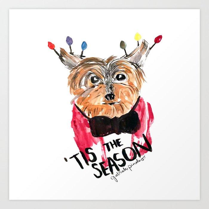 Holiday Dog, Tis the Season, Pinales Illustrated Art Print