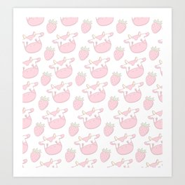 Strawberry Cow Art Print