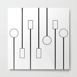 Minimalist Black and White Hanging Patterns Metal Print