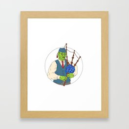 Zombie Piper Playing Bagpipes Grime Art Framed Art Print