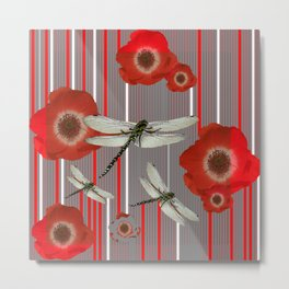 AWESOME DRAGONFLIES & RED POPPY FLOWERS ART Metal Print