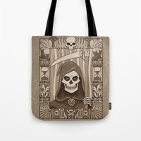 discworld Tote Bags featuring COWER BRIEF MORTALS by Doodle Dojo