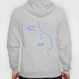 Pastel Blue Elegant Feminine Woman Kind Minimalist Line Drawing Faces Hoody