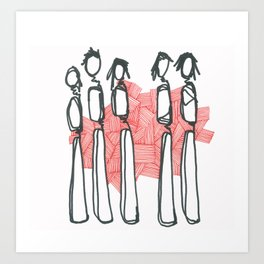 People with Red Lines Art Print