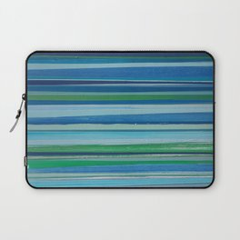 Painted Horizontal Stripe in Blues and Green Laptop Sleeve