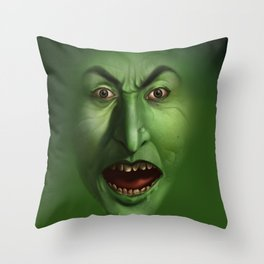 Green Witch face Throw Pillow