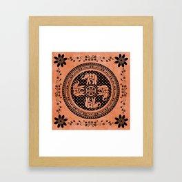 Indian Elephant Floral Hippie Bohemian Design On Orange Framed Art Print