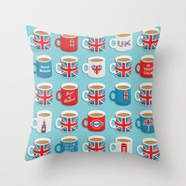 A Very British Brew Throw Pillow