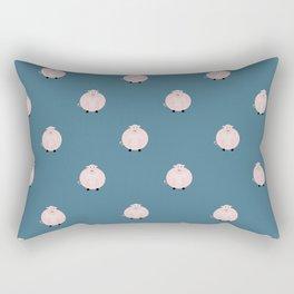 Pigs Blue Rectangular Pillow